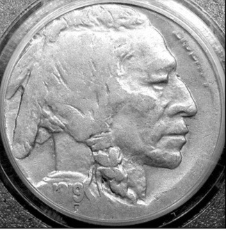 1919 buffalo nickel struck on an Argentina 10 centavos planchet