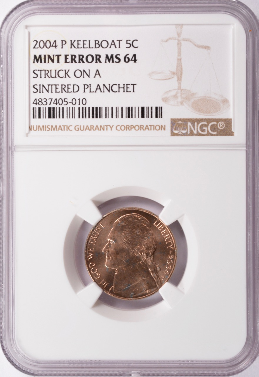 NGC 5c 2004-P Keelboat Nickel Improperly Annealed MS64 Red