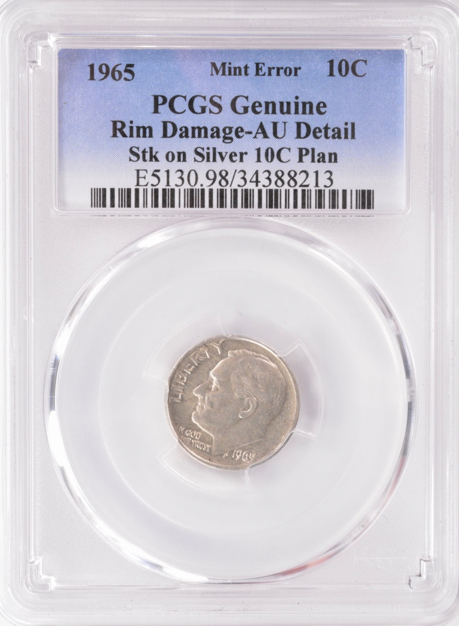 PCGS 1965 Roosevelt Dime Transitional Off Metal Struck On A Silver Planchet The Should Be Clad But Intended For Striking
