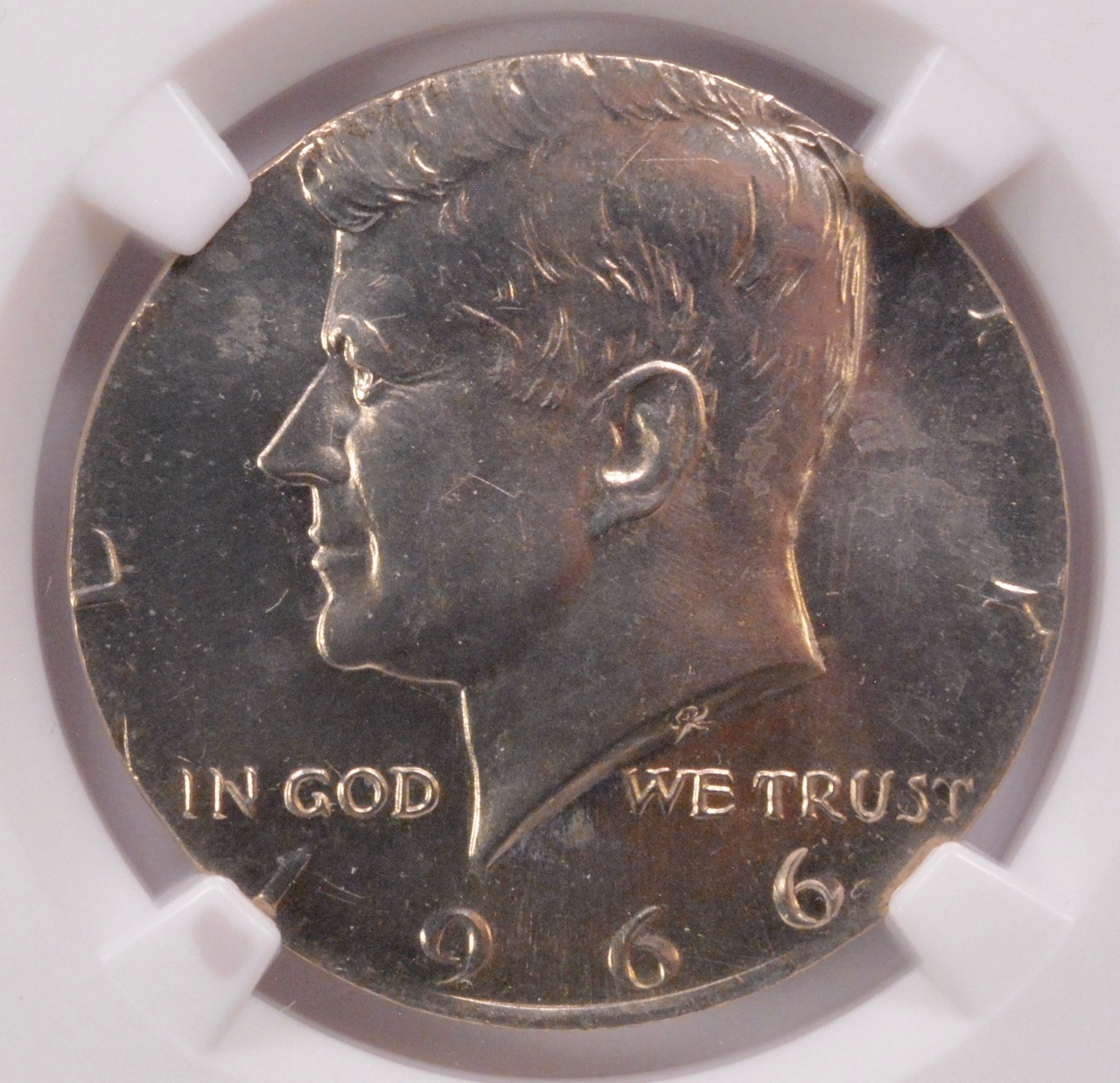 NGC 50c 1966 SMS Kennedy Half on Quarter Planchet MS-65