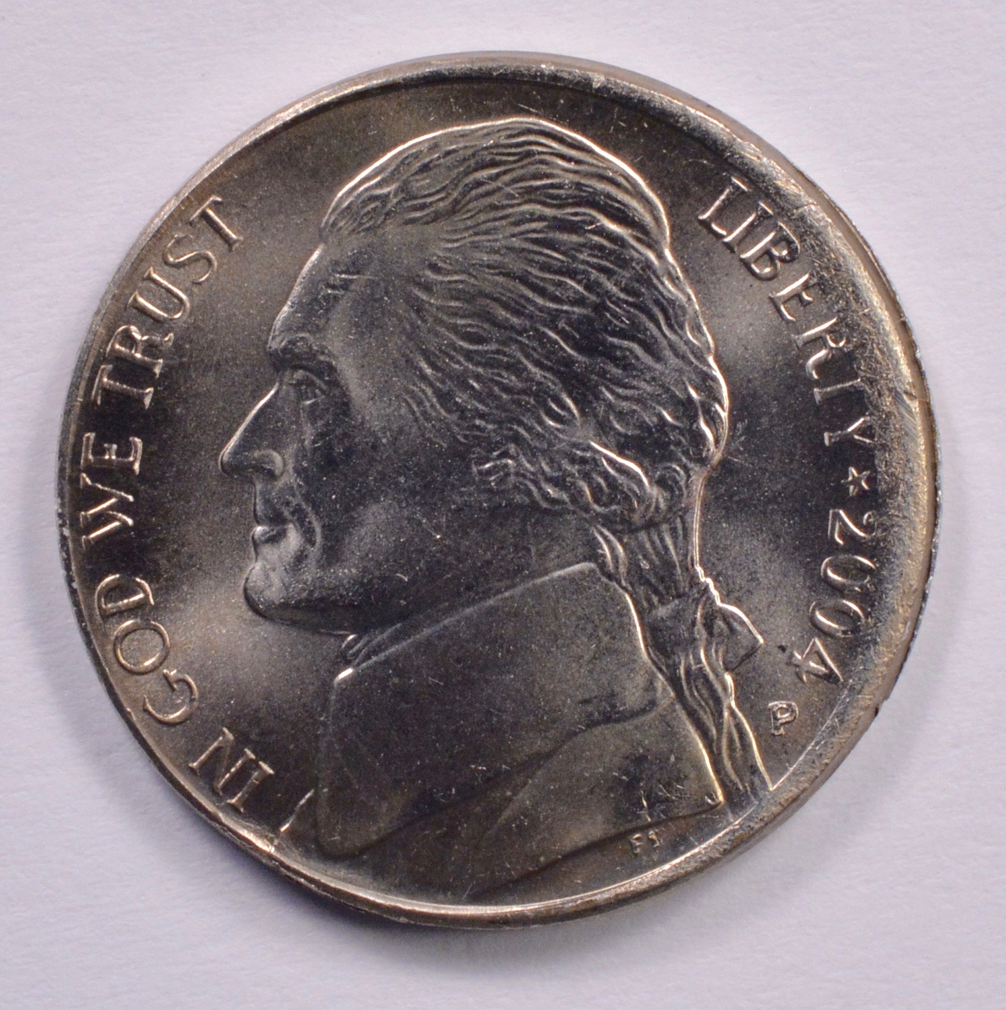 5c 2004-P Jefferson Nickel Broadstrike W/Collar Marks MS-66