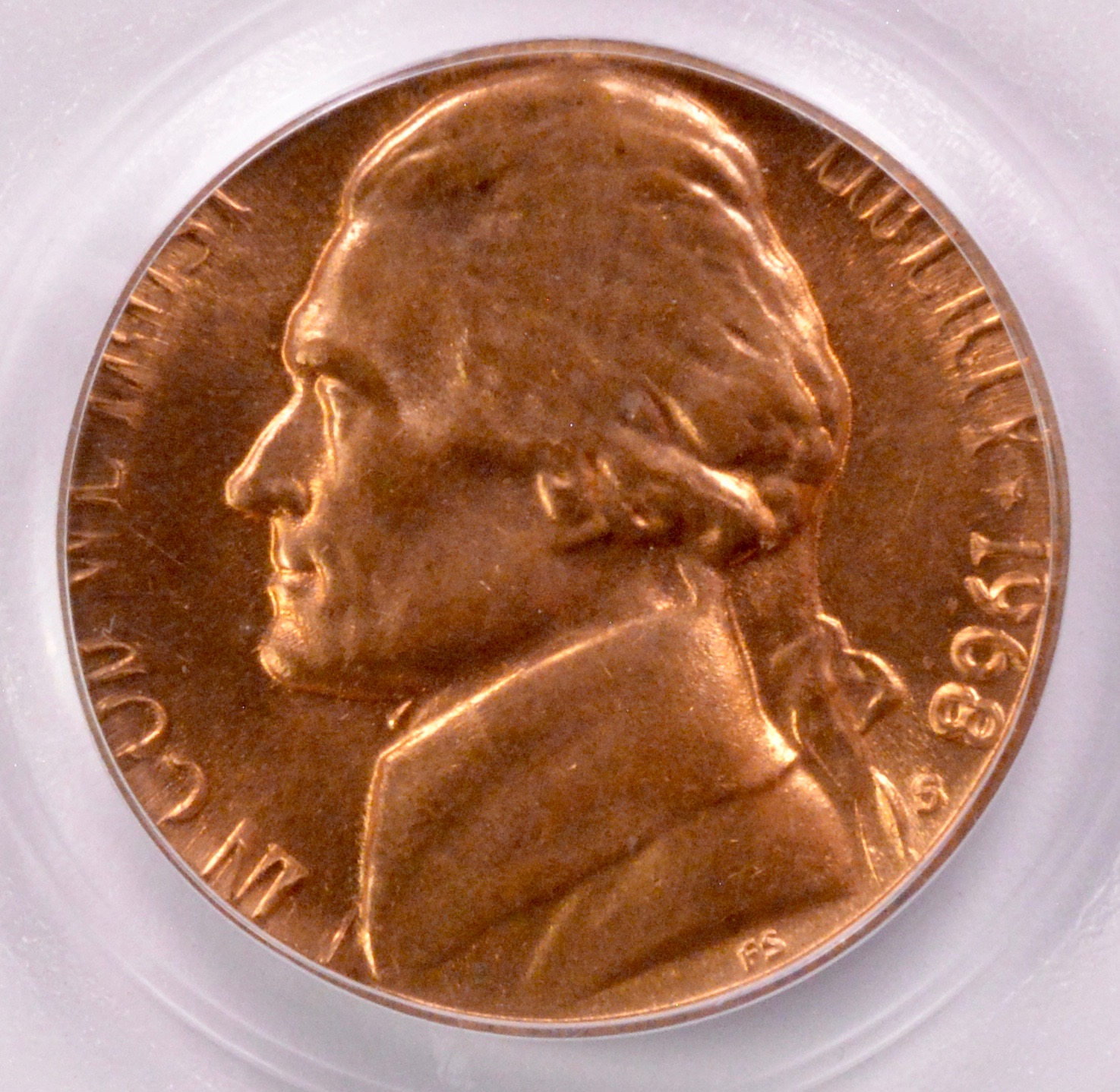 PCGS 5c 1968-S Jefferson Nickel on Cent Planchet MS-65 Red