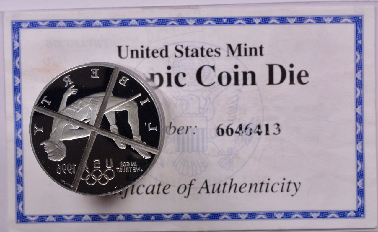 $1 1996 Proof Silver Dollar High Jump Olympic Coin Die | Sullivan