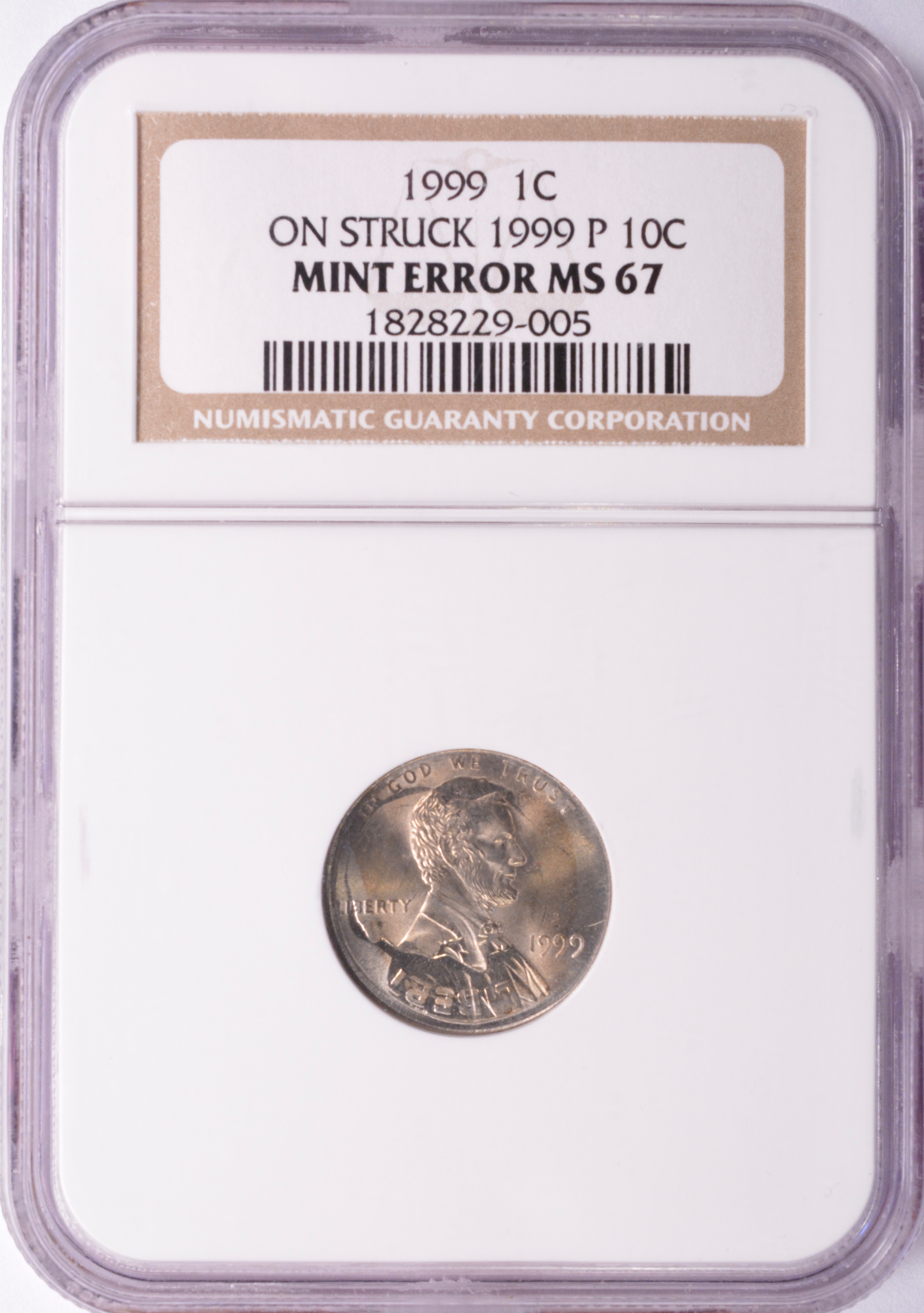 NGC 1c 1999 Lincoln Cent on 1999 Dime Double-Denomination MS
