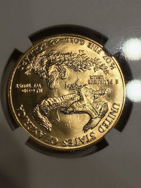 1986 G$25 American Eagle Clashed Die Reverse