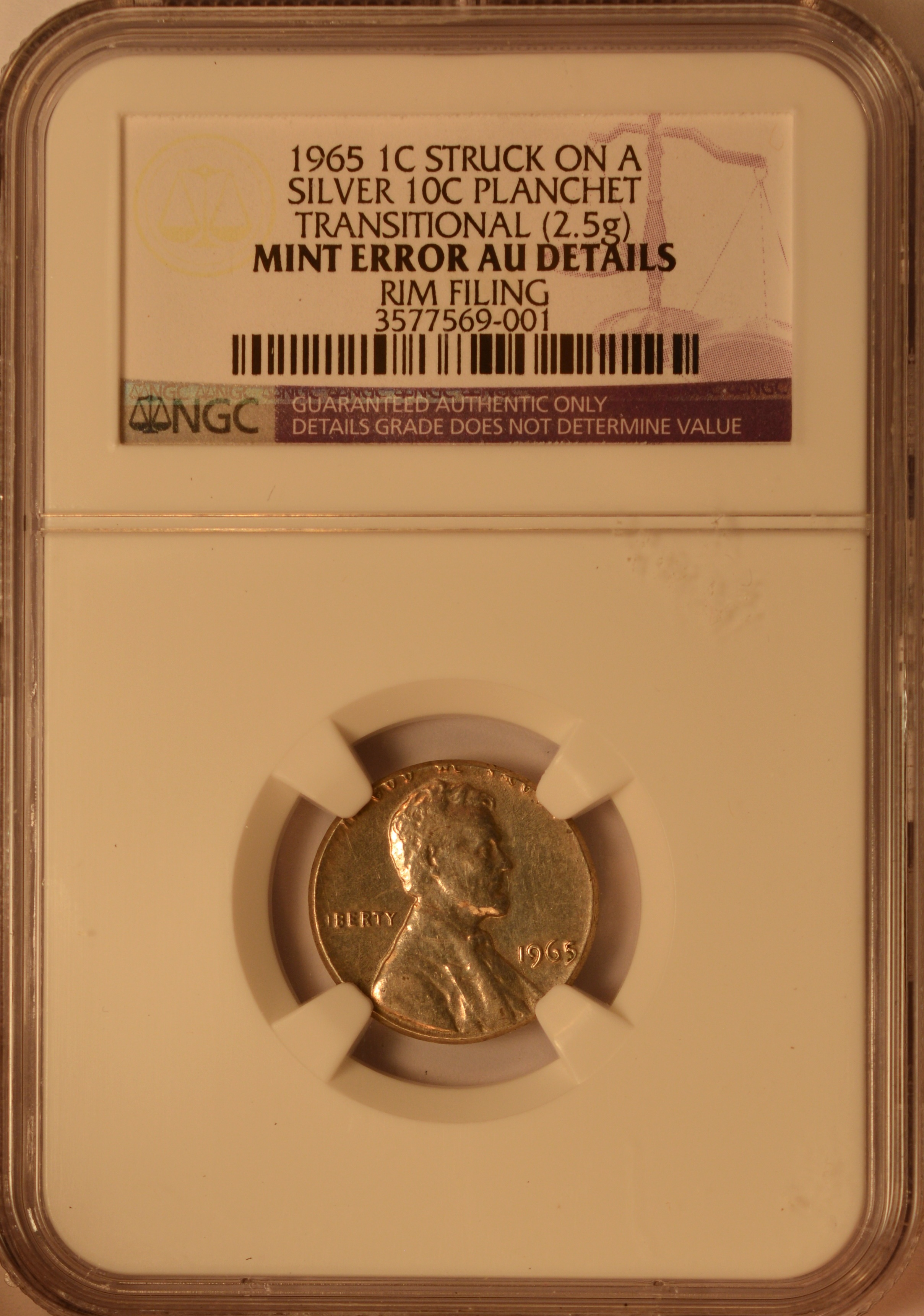 NGC 1965 Lincoln Cent Struck On A 90 Silver Roosevelt Dime Planchet And Is Transitional Off Metal The Leftover Which Was