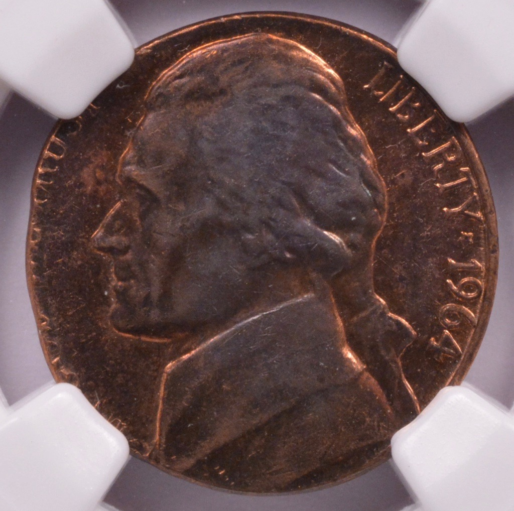 NGC 5c 1964 D Jefferson Nickel On Cent Planchet MS 62 Brown